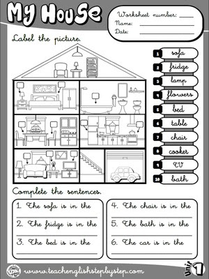 My house - Worksheet 6 (B&W version)