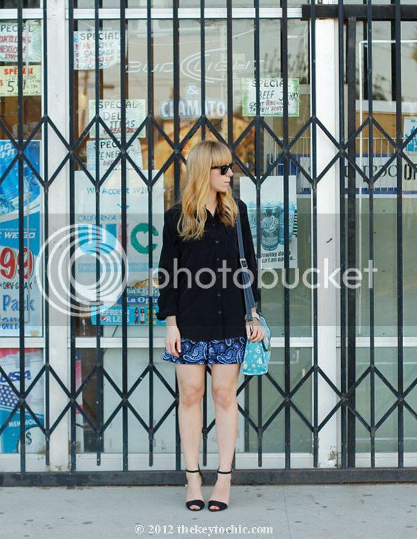 pajama trend, paisley shorts, Jason Wu for Target floral bag, Zara ankle strap heels, southern California fashion blog
