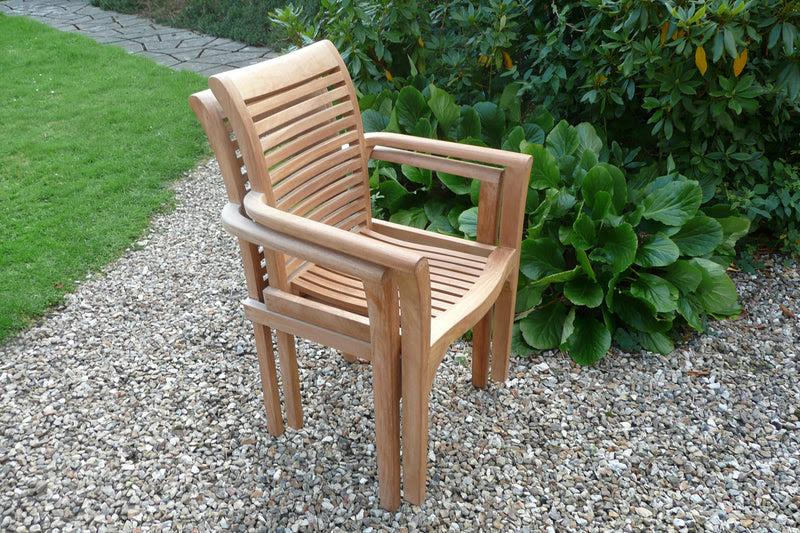 Two Teak Stacking Garden Chairs | Garden Furniture ...