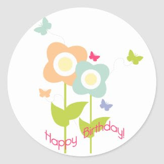 Butterfly Birthday Cupcake Topper/Sticker zazzle_sticker