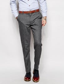 Farah Vintage Trousers In Grey Herringbone