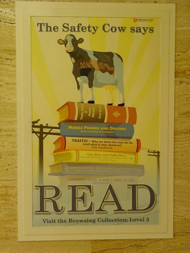 Safety cow says read - J.Willard Marriott Library, University of Utah