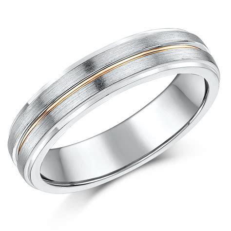 5mm Silver & 9ct Rose Gold Matt & Polished Wedding Ring