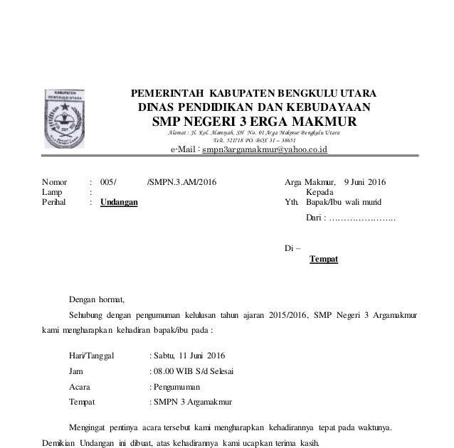 Contoh Surat Undangan Dinas Kepada Komite Sekolah ...