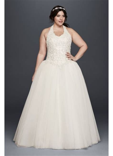 Basque Waist Plus Size Ball Gown Wedding Dress   David's