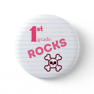 First Grade Rocks {pink} button