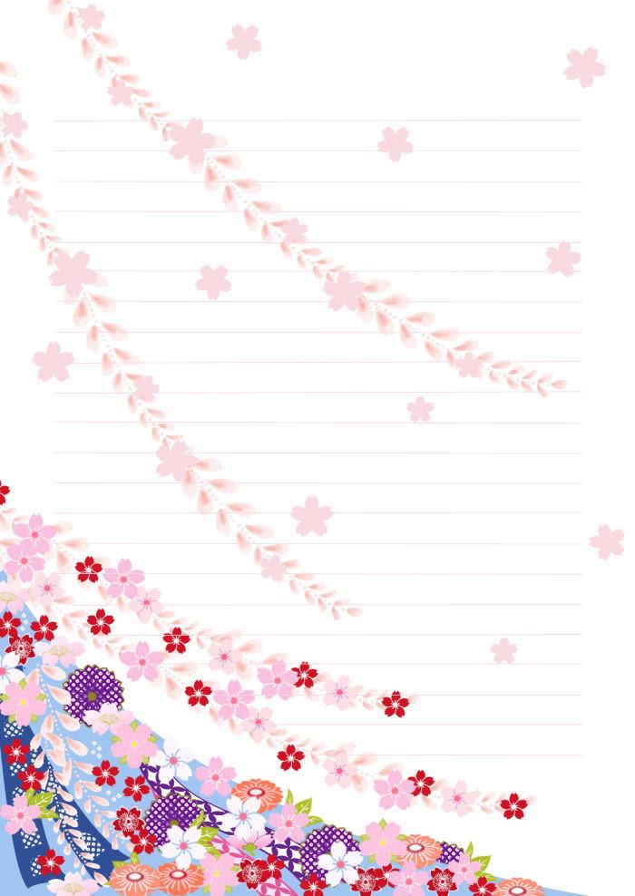 花の便箋 無料テンプレート 桜 春のごあいさつ便箋