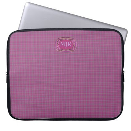 Light purples Scottish-style Tartan Plaid Monogram Laptop Computer Sleeves