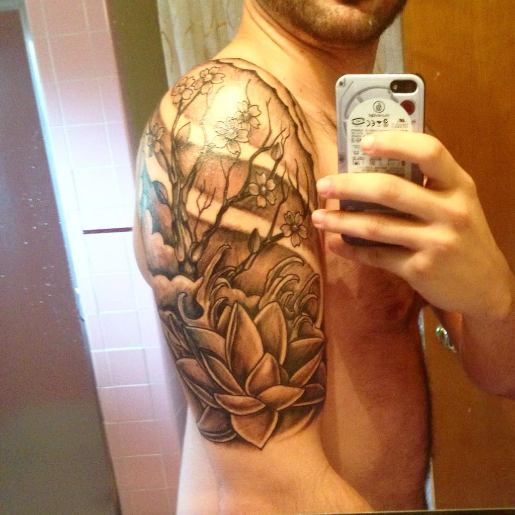 Cherry Blossom Lotus Start Half Sleeve Tattoo Done By Dan At Black