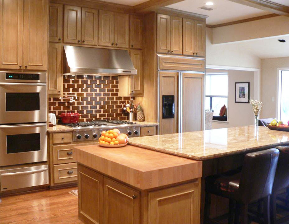 Thick Maple Butcher Block Countertop Kitchen in Dallas Texas