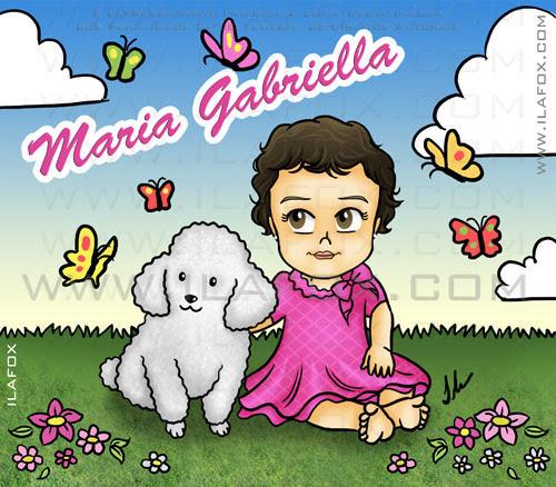 Caricatura infantil, Maria Gabriela, num jardim florido com borboletas, ilustração by ila fox