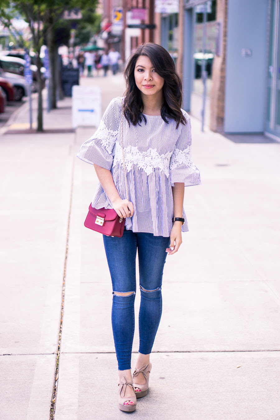 striped blouse outfit  just a tina bit
