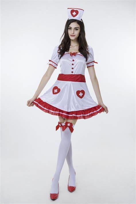 2017 New White Nurse Dress With Stockings Uniform