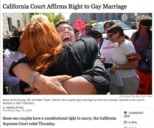 Flickr: katerw - nytimes: California Court Affirms Right to Gay Marriage