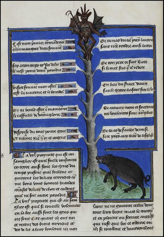 15th century illuminated manuscript miniature: Henri de Ferrières, Les Livres du roy Modus et de la royne Ratio 109