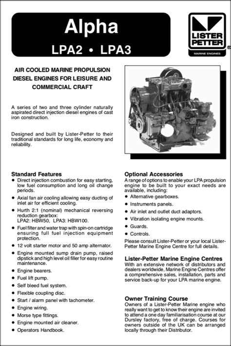 Lister Petter Alpha LPA2 Diesel Engine Information Sheet