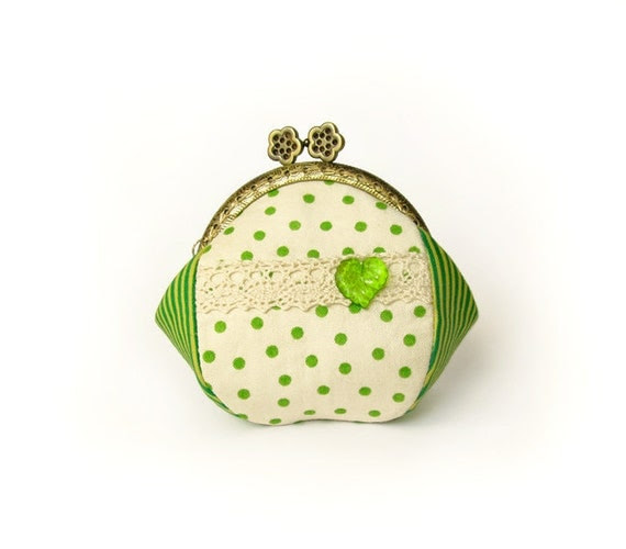 Green Polka Dots Purse - Cream Change Pouch - Apple Green, yellow stripe with metal frame