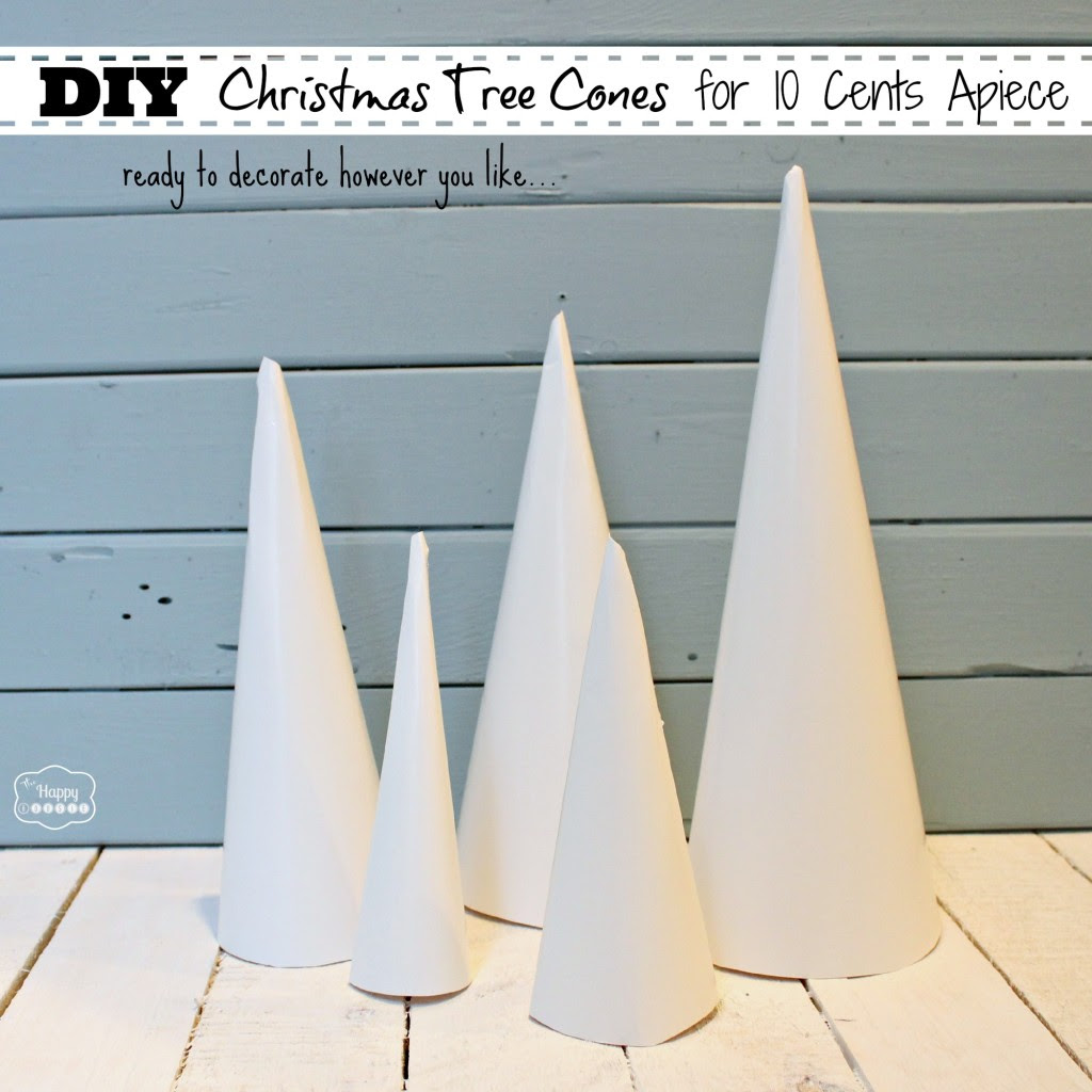 DIY Christmas Tree Cones for ten cents apiece ready to decorate at thehappyhousie