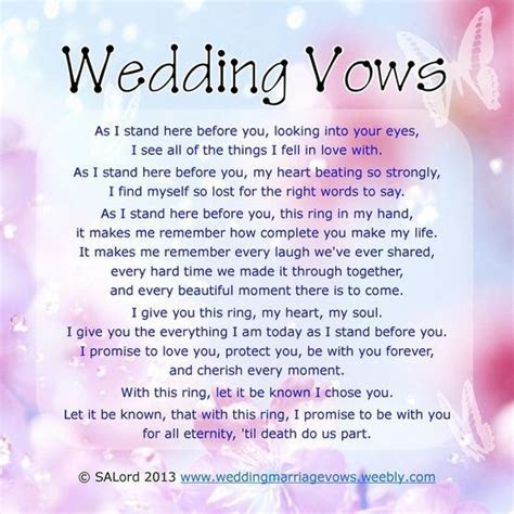Romantic Wedding Vows   Sample Marriage Vow Examples