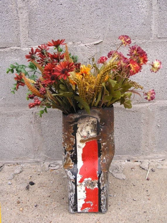 Black Metal Art Vase, Industrial Decor