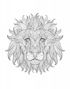 lion head 2  lions  coloring pages for adults  justcolor