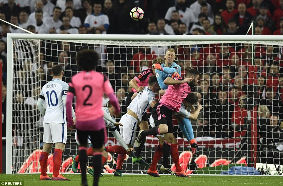 Joe Hart was put under pressure by an early set piece, but the whistle had gone before the England goalkeeper's punch