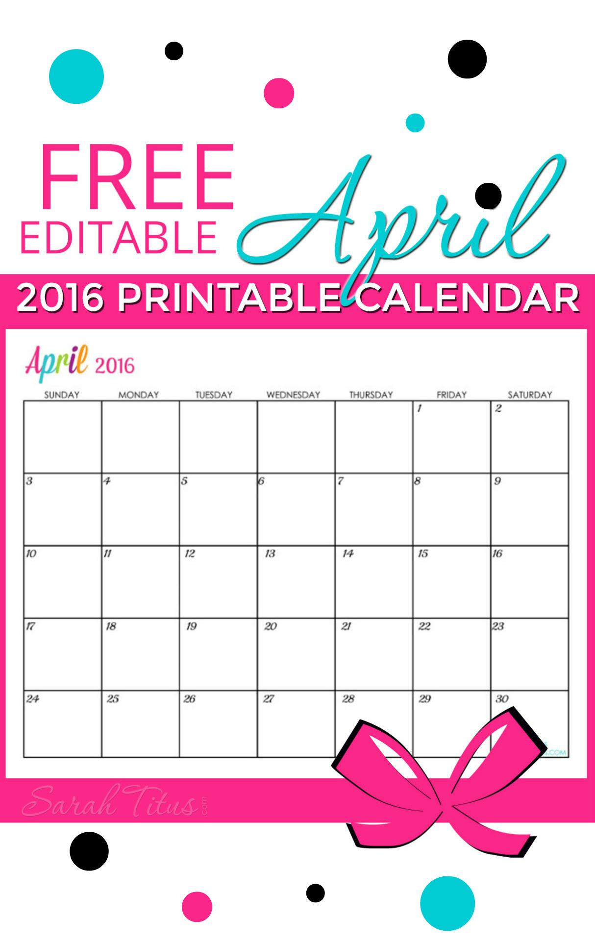 Free Blank Online Calendar April 2016 - Sarah Titus