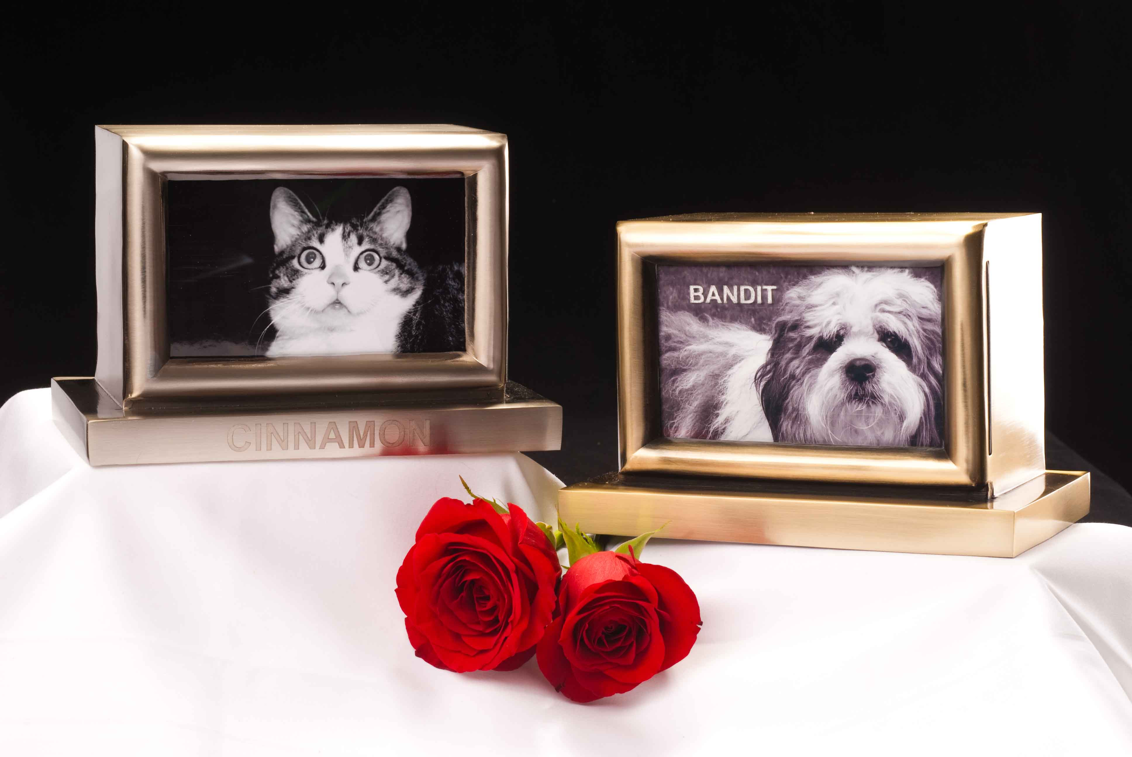 Antique Bronze And Brushed Nickel Pet Picture Frame Urns