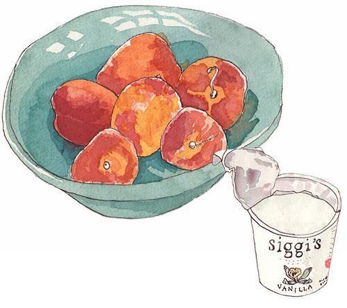 peaches and yogurt