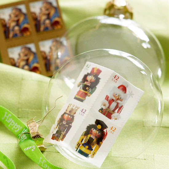 Vintage Stamp Christmas Tree Ornaments