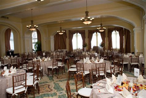 Hotel Galvez ballroom reception set up in Galveston, Texas