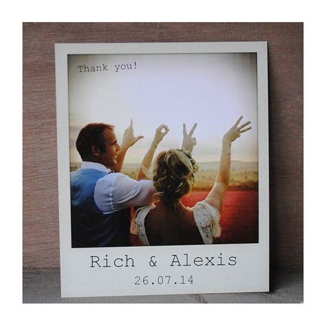 wedding instant photo thank you cards with envelopes by