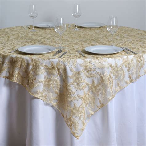 """72x72"""" Floral Lace TABLE OVERLAY Wedding Linens"""