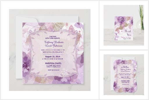 Watercolor Blossoms Purple Wedding