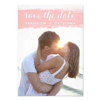 Pink Watercolor Splash Save the Date Announcement