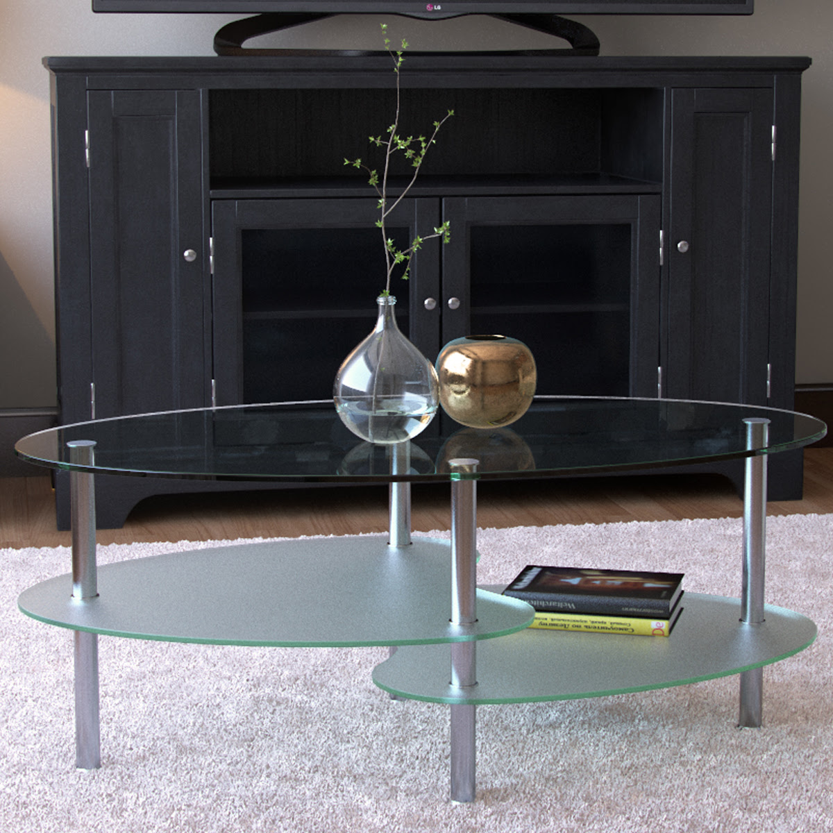Fenton 38 Inch Oval Two Tier Glass Coffee Table
