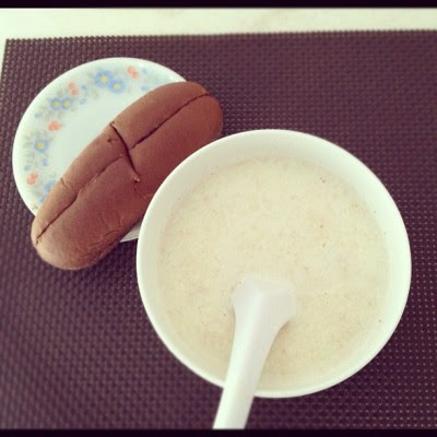 Oatmeal in milk and my chocolate cream roll! #breakfast  (Taken with Instagram)