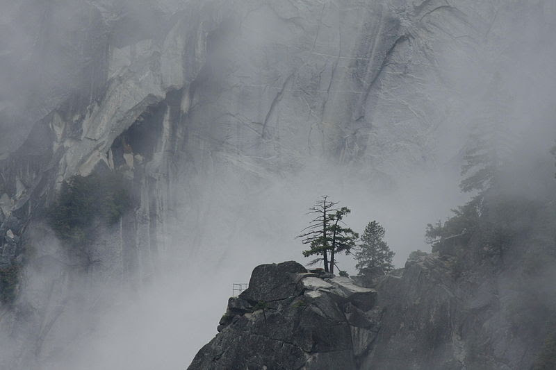 File:Sierra Point in Mist against Granite Backdrop as Seen from the Top of Vernal Fall.JPG