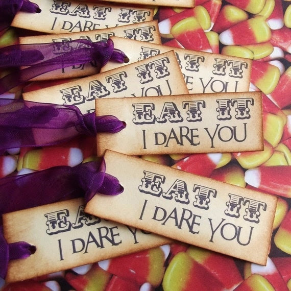 Eat It - I Dare you - Halloween Tags - Vintage Inspired, Hand Aged, Purple Organdy Ribbon