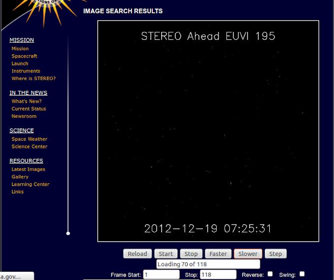 """Estranho: Imagem do sol """"desaparece"""" temporariamente na sonda Stereo Ahead EUVI 195 da Nasa"""