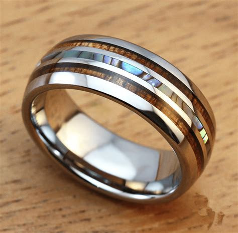 Men's 8mm Titanium Wedding Ring With Double Wood & Pearl