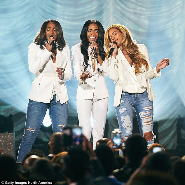 """Nameless: Singers Michelle Williams, Kelly Rowland and Beyonce performing """"Say Yes"""" during the 30th Annual Stellar Awards in Las Vegas last week. The singers did not refer to themselves as Destiny's Child"""