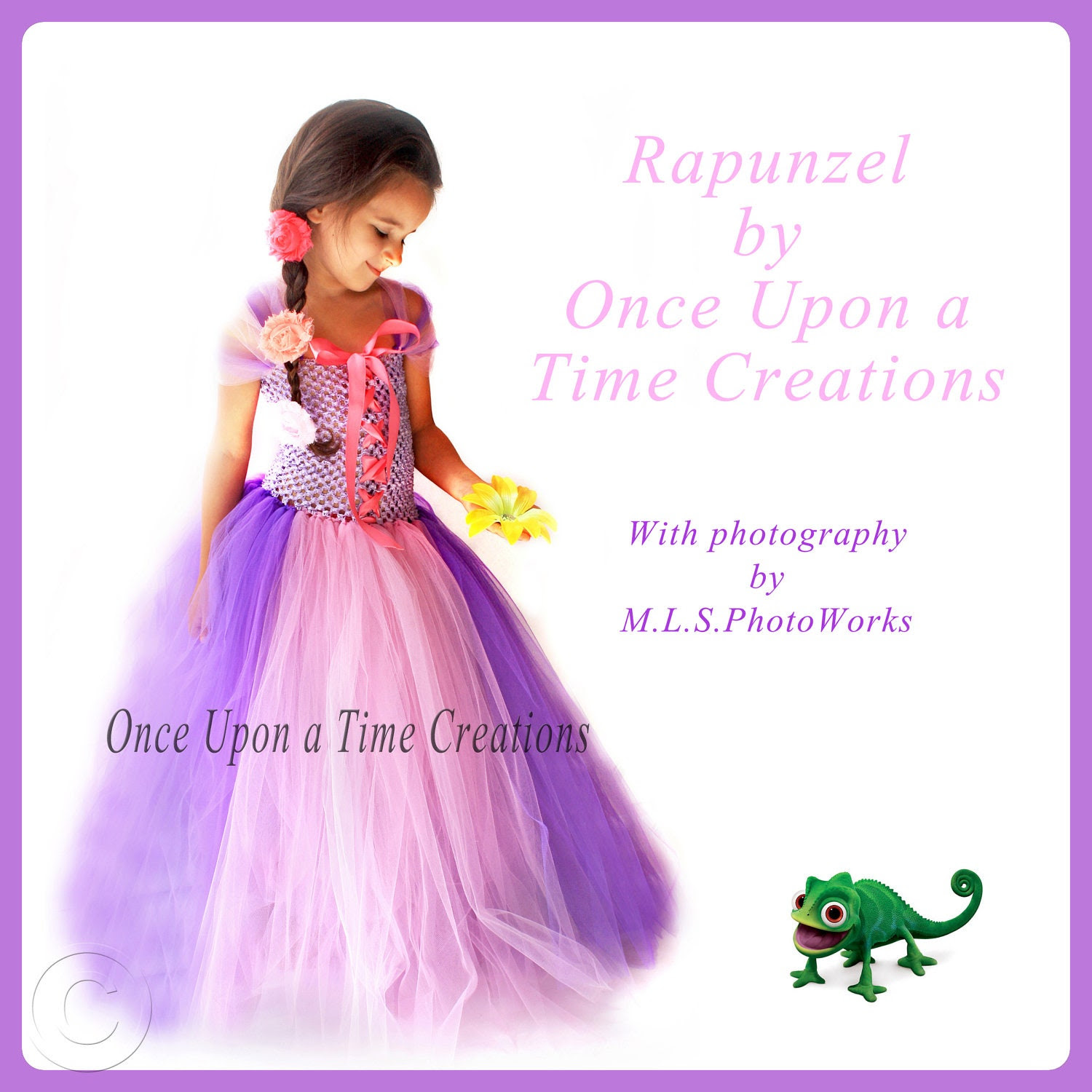 Rapunzel Inspired Princess Tutu Dress - Birthday Outfit, Photo Prop, Halloween Costume - 12M 2T 3T 4T 5T - Disney Tangled Inspired