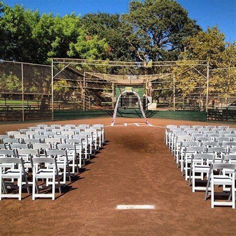 Baseball field wedding @b Weg i think it would be to dirty