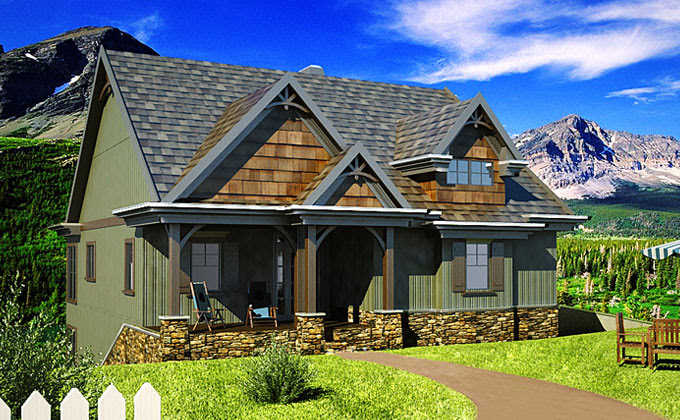 Small Cottage House Plan with walkout basement and porches