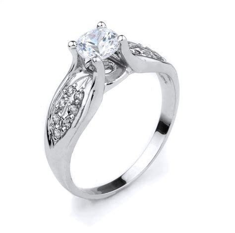 10K White Gold Round Clear Cubic Zirconia 1.50ct