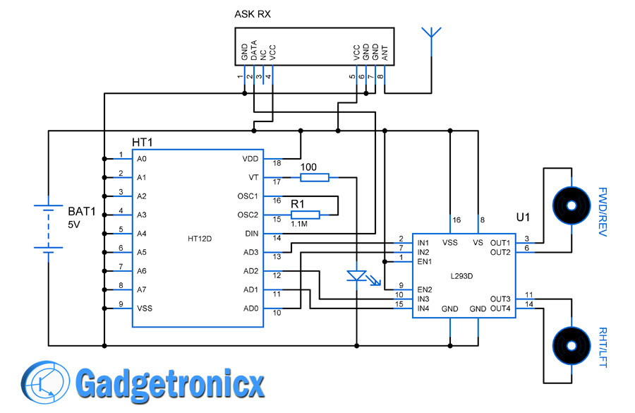 Simple Rc Car Transmitter And Receiver Circuit Diagram