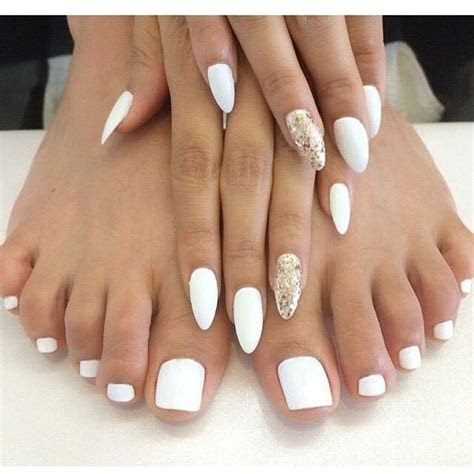 wedding toe nail design idea 2016 via Polyvore featuring