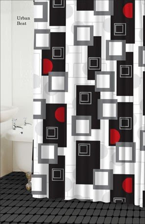 Cheap Urban Beat Shower Curtain (Black/White/Red/Grey) | Farkhah Blog