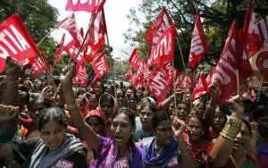 Women demonstrating during the Indian general strike. Over 100 million workers have walked off the job in the South Asian state. by Pan-African News Wire File Photos